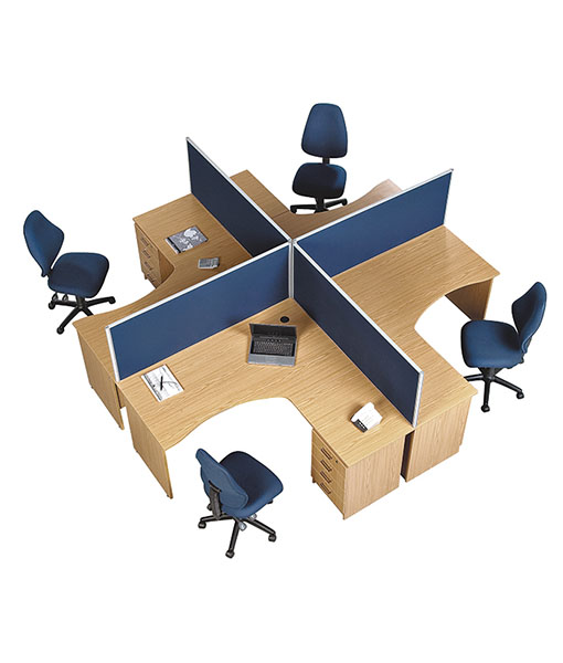 Discovery curved 4 way workstation with desk height - Average office desk height ...