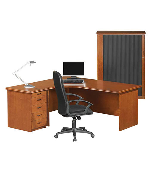 Starline Curved Desk with Desk Height Pedestal BDK