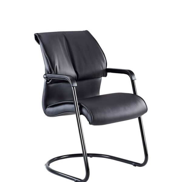 7600 Integral Visitors Arm Chair Black Bonded Leather