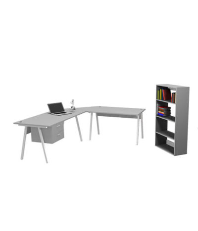 A-Frame L-Shape Desk with Drawers, Extension & Link