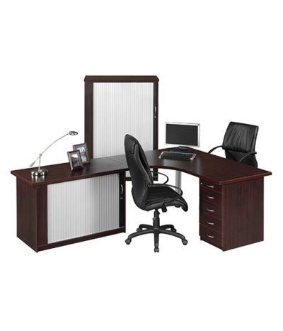 Valuline L-Shape Desk with Roller Door Credenza