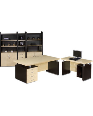 Cubic Single Pedestal Desk with Computer Extension