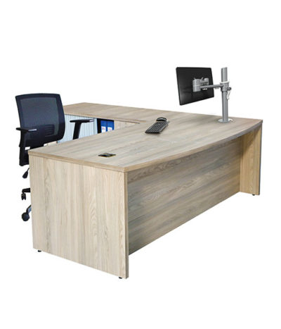 Discovery Bow Front Desk with Roller Door Credenza
