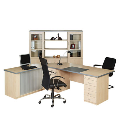 Valuline Double Pedestal Desk with Roller Door Credenza