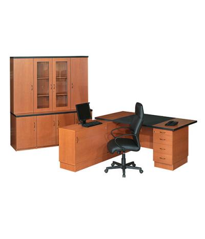 Valuline Single Pedestal L-Combo Desk with Sliding Door Credenza