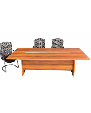 Evolution Rectangular Boardroom Table with Frosted Glass Inlay – Top 32mm Mel