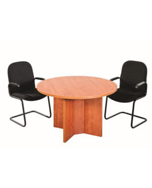 Data Track Round Meeting / Conference Table with Cross Base – Top 32mm Mel