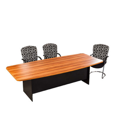 E-Space Barresl Shape Boardroom Table with Panel Leg – Top 32mm Mel