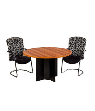 E-Space Round Meeting / Conference Table with Cross Base – Top 32mm Mel