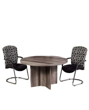 Senator Round Meeting / Conference Table with Cross Base – Top 50mm Mel