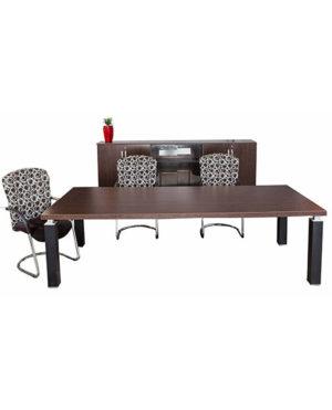 Slimline Rectangular Boardroom table with 100mm Metal  Leg – Top 50mm Mel