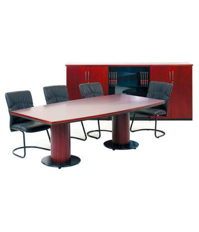 Summit Barrel Shape Boardroom Table with Barrel base – Top 32mm Ven
