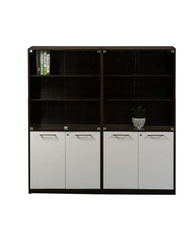 Evolution Wall Unit 4H/D Base with 3 Tier Glass Door Top – 1800mmWx1800mmHX450mmD