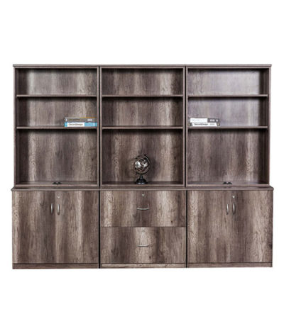 Senator Exec Wall Unit with Deep Filer & H/D Base with Open Tops 2400Wx1950Hx450D