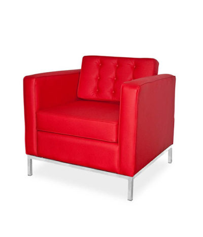 St Helena Single  Seater Couch – Chromed Metal Foot Frame