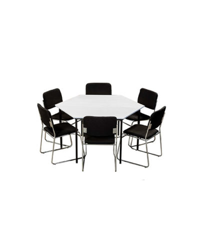 Trapezoid Tables with Metal Frame & Melamine Tops (16mm) 1400×700 / 1200×600